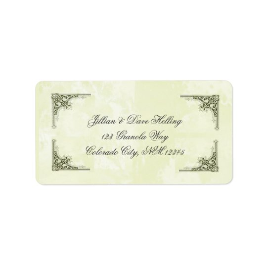 Elegant gold and green filagree address labels