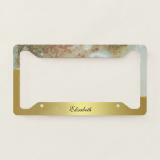 Elegant Gold and Green Marble Monogram