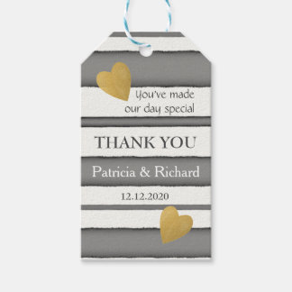 Elegant Gold And Grey Wedding Thank You Gift Tags