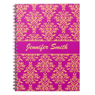 Elegant Gold and Hot Pink Magenta Damask Notebook
