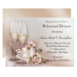 Elegant Gold and Ivory Rehearsal Dinner Card