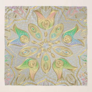 Elegant Gold and Pastel Mandala Chiffon Scarf