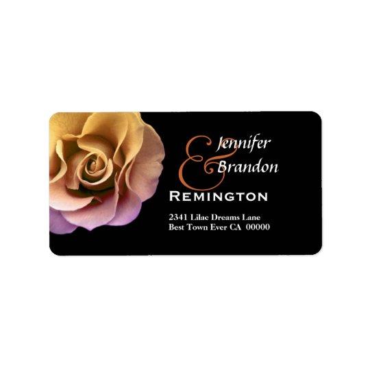 Elegant Gold and Peach Sunset Rose Label