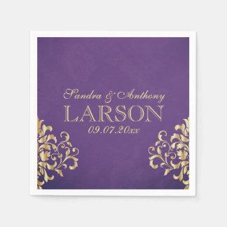 Elegant Gold and Purple Damask Wedding Napkins Disposable Serviette