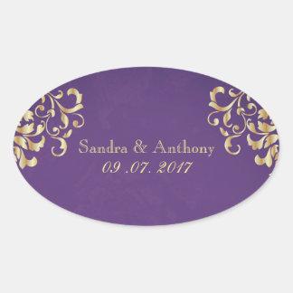 Elegant Gold and Purple Damask Wedding Stickers