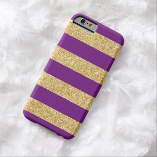 Elegant Gold and Purple Glitter Stripes Pattern Barely There iPhone 6 Case