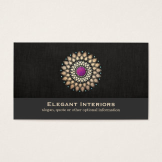 Elegant Gold and Purple Motif Interior Designer Business Card