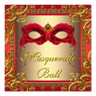 Elegant Gold and Red Masquerade Party Card