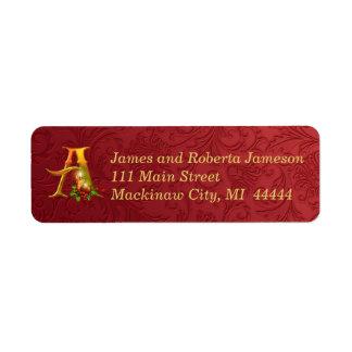Elegant Gold and Red Monogram Christmas Label Return Address Label