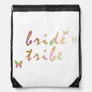 elegant gold and rose gold Bride Tribe Drawstring Bag