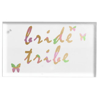 elegant gold and rose gold foil Bride Tribe Table Card Holder