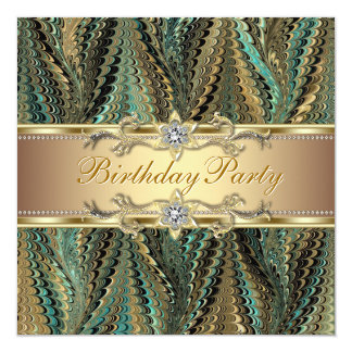 Elegant Gold and Teal Blue Birthday Party Custom Announcement