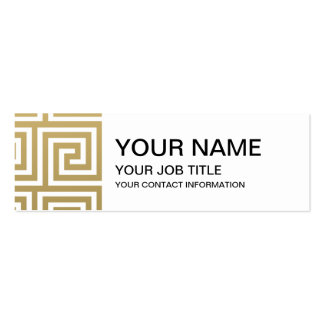 Elegant Gold and White Greek Key Pattern Business Cards