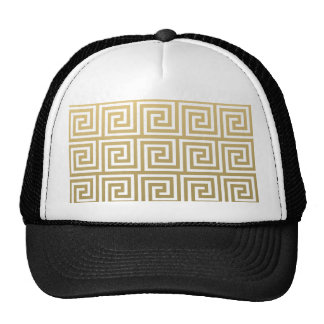 Elegant Gold and White Greek Key Pattern Mesh Hat