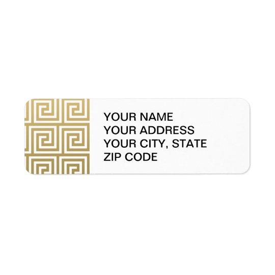Elegant Gold and White Greek Key Pattern Return Address Label