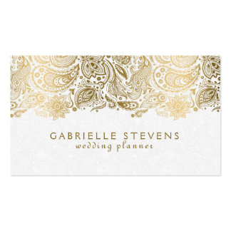 Elegant Gold And White Paisley 2 Wedding Planner Pack Of Standard Business Cards