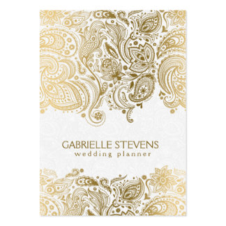Elegant Gold And White Paisley 3 Wedding Planner Pack Of Chubby Business Cards
