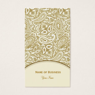 Gold and white damask business cards business card printing elegant gold and white paisley damask business card reheart Gallery