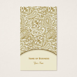Elegant Gold and White Paisley Damask Business Card