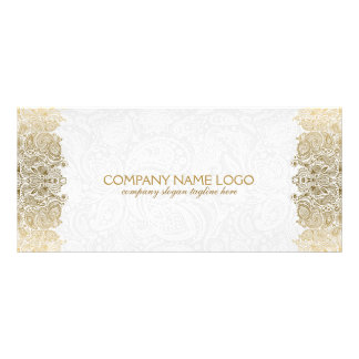 Elegant Gold And White Paisley Lace Pattern Rack Cards