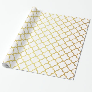 Elegant Gold and White Quatrefoil Geometric Wrapping Paper