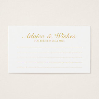 Elegant Gold and White Wedding Advice and Wishes
