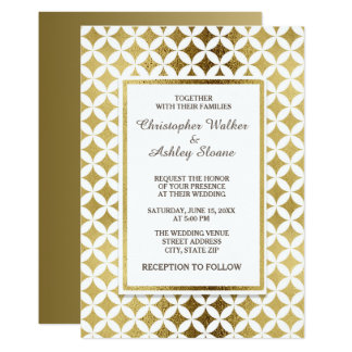 Elegant Gold and White Wedding Invitation