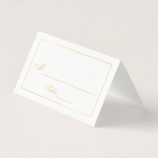 Elegant Gold and White Wedding Place Card