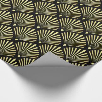 Elegant Gold Art Deco Fan Pattern on Black Wrapping Paper