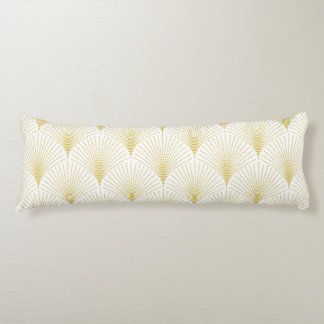 Elegant Gold Art-deco Geometric Seamless Pattern Body Cushion
