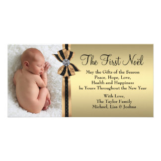 Elegant Gold Baby's First Christmas Photo Card Template