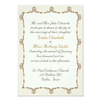 Elegant Gold Baroque Wedding Invitation