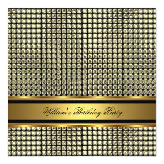 Elegant Gold Birthday Party Mens Man Personalized Invitations