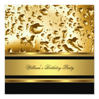 Elegant Gold Birthday Party Mens Man Personalized Announcements