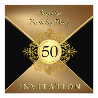 Elegant Gold Black 50th Birthday Surprise Party In 13 Cm X 13 Cm Square Invitation Card