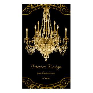 Elegant Gold Black Chandelier Interior Design Business Card