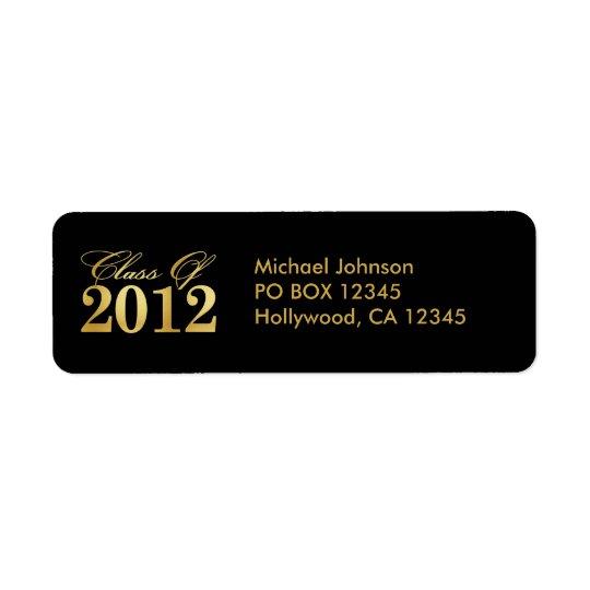 Elegant Gold / Black Class of 2012 Labels