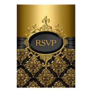 Elegant Gold Black Damask RSVP Personalized Invitations