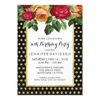 ELEGANT GOLD BLACK FLORAL BIRTHDAY PARTY 11 CM X 16 CM INVITATION CARD