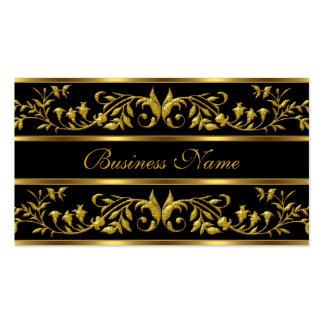 Elegant Gold Black floral Business Cards Elegant