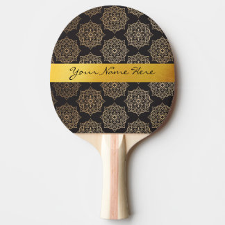 Elegant Gold Black Floral Mandala Pattern Ping Pong Paddle