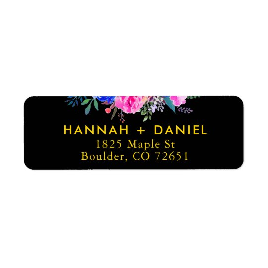 Elegant Gold & Black Floral Return Address Label