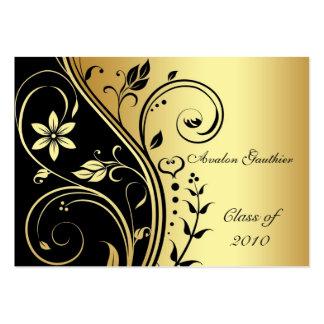 Elegant Gold & Black Flower Scroll Graduation Card Business Card Templates