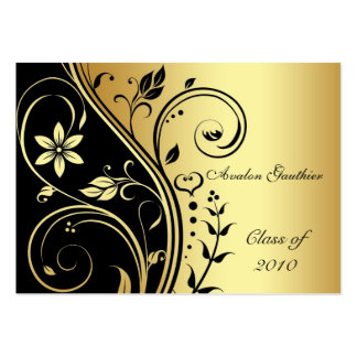 Elegant Gold & Black Flower Scroll Graduation Card Pack Of Chubby Business Cards