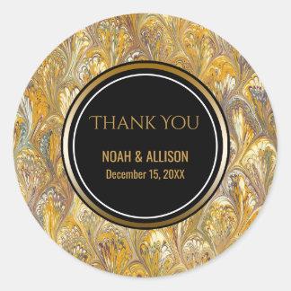 Elegant Gold Black | Formal Wedding Favor Classic Round Sticker