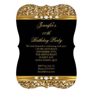 Elegant Gold Black Glitter Diamond Birthday Party 13 Cm X 18 Cm Invitation Card