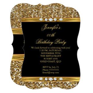Elegant Gold Black Glitter Diamond Birthday Party Card