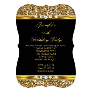 Elegant Gold Black Glitter Diamond Birthday Party Card