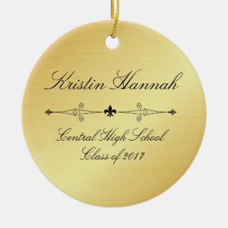 Elegant Gold & Black Graduation Christmas Ornament