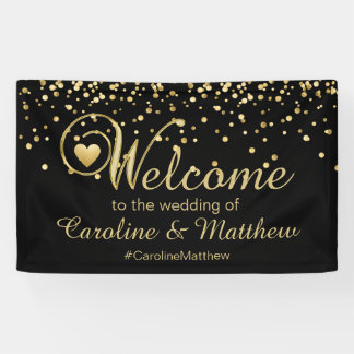Elegant Gold Black Heart Welcome Wedding Banner